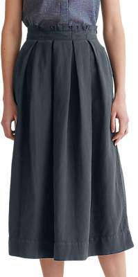 Toast Cotton Linen Boxpleat Skirt, Anthracite Blue