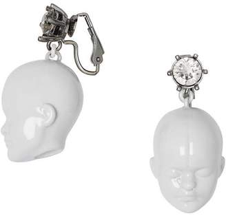 Burberry Crystal and Doll's Head Palladium-plated Earrings
