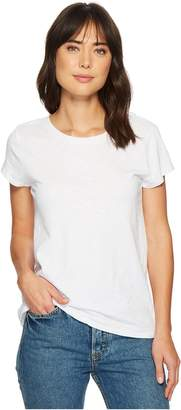 Dylan by True Grit Luxe Cotton Slub Short Sleeve Crew Tee with Back Detail Seam Stitch Women's T Shirt