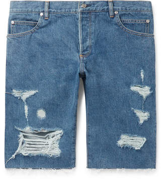 a491b0b524 Balmain Slim-Fit Logo-Embroidered Distressed Denim Shorts