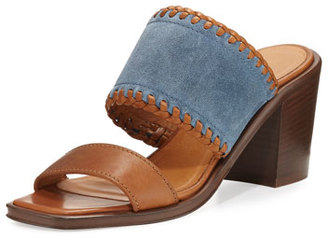 Frye Ashley Suede & Leather Mule Sandal, Blue $398 thestylecure.com