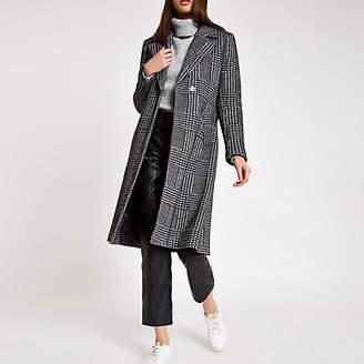 River Island Black herringbone check knit belted robe coat