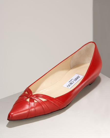 Jimmy Choo Lychee Pointed-Toe Flat