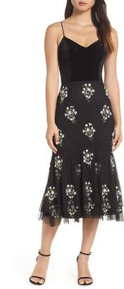 Adrianna Papell Bead Embellished Midi Dress