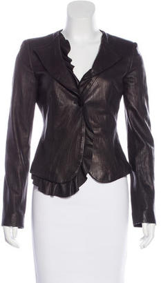 Armani Collezioni Leather Ruffled Blazer $175 thestylecure.com