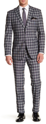 English Laundry Gray Plaid Two Button Peak Lapel Trim Fit Suit $349 thestylecure.com