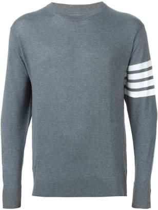 Thom Browne Crewneck Pullover With 4-Bar Stripe In Medium Grey Merino