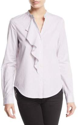Derek Lam 10 Crosby Striped Long-Sleeve Ruffle Button-Front Shirt