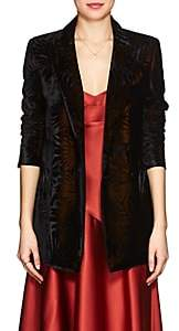 BLAZÉ MILANO Women's Everyday Floral Velvet Double-Breasted Blazer - Black