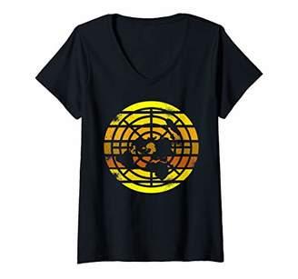 Womens Flat Earth Society Retro Spread Revolution V-Neck T-Shirt