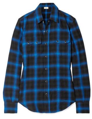 Saint Laurent Checked Cotton-blend Flannel Shirt - Black
