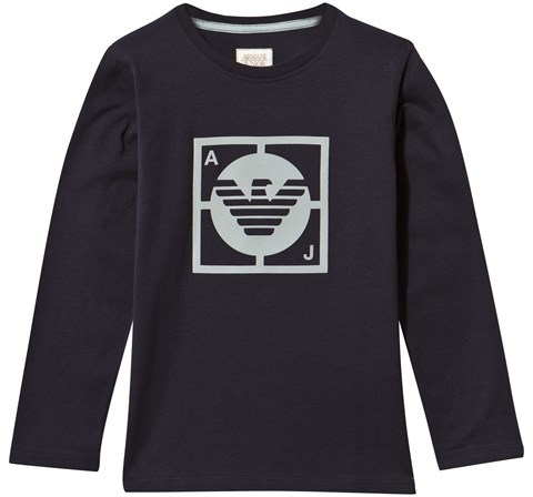 Armani Junior Armani Junior Navy and Lime Rubberised Print Tee