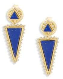 Freida Rothman Classic Cubic Zirconia and Sterling Silver Indigo Armour Slice Lapis Drop Earrings