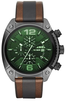 DIESEL ® 'Overflow' Chronograph Leather Strap Watch, 54mm $195 thestylecure.com