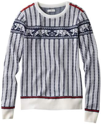 L.L. Bean L.L.Bean Women's Signature Merino Textured Crewneck Sweater, Fair Isle