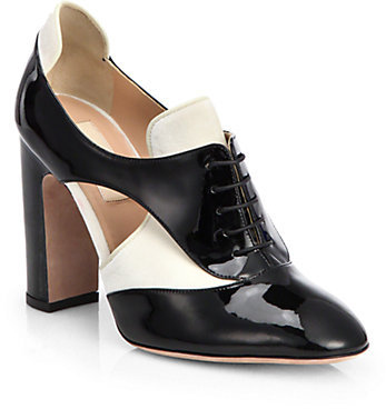 Valentino Bicolor Patent Leather Lace-Up Ankle Boots