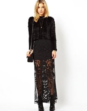 Asos Premium Column Maxi Skirt In Burnout With Splits - Black