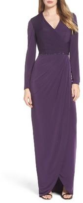 Women's La Femme Embellished Faux Wrap Gown $478 thestylecure.com