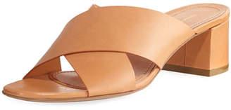Mansur Gavriel Leather Crisscross 40mm Slide Sandals, Tan