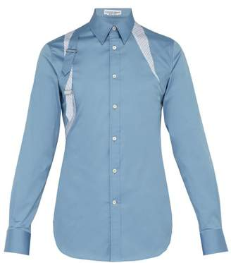 Alexander McQueen Stripe Panel Cotton Poplin Harness Shirt - Mens - Blue