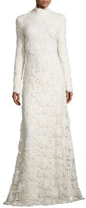 Ralph Lauren Long-Sleeve Mock-Neck Lace Gown, Cream $12,000 thestylecure.com