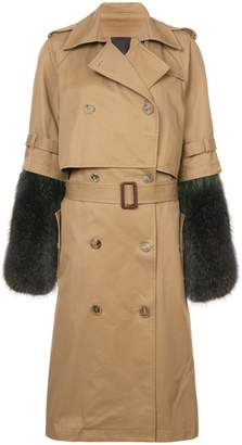 Vera Wang detachable fur sleeve trench coat