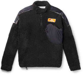 Off-White Off White Shell-trimmed Fleece Half-zip Sweatshirt - Black