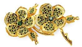 Kenneth Jay Lane Crystal& 22K Goldplated Clover Pin