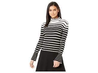 Bebe Bell Sleeve Stripe Turtleneck Women's Sweater