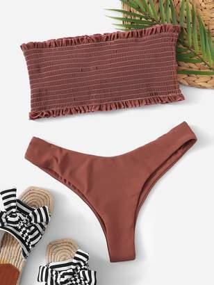 SheinShein Smocked Frill Trim Bandeau With High Cut Bikini