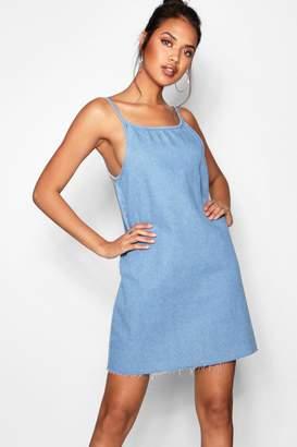 boohoo Loose Low Back Strappy Denim Dress
