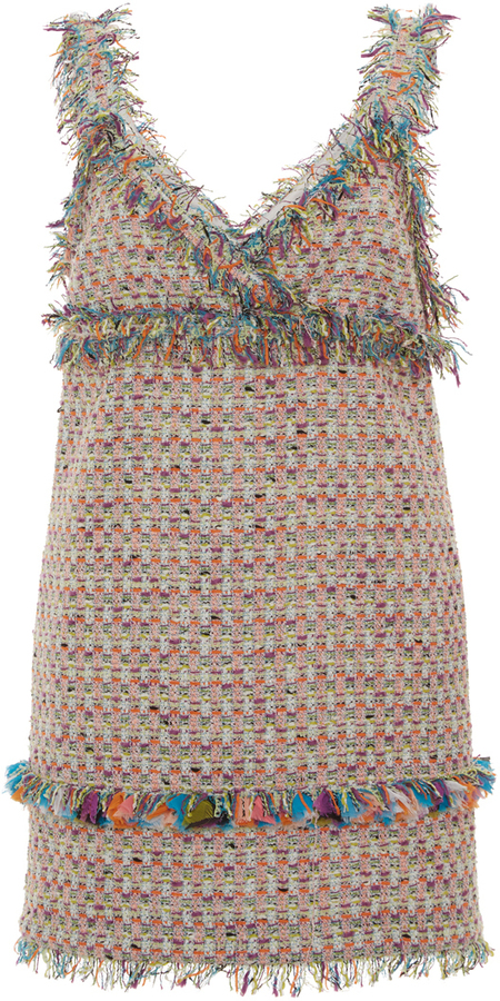 MSGM Fringe Tweed Mini Dress