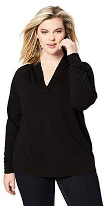 Daily Ritual Women's Plus Size Terry Cotton and Modal Hooded Henley Pullover