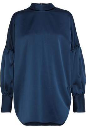 By Malene Birger Cutout Satin-Crepe Blouse