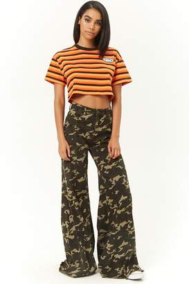 Forever 21 Camo Print Wide-Leg Jeans
