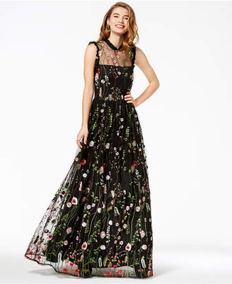 City Studios Juniors' Ruffle-Trim Embroidered Gown