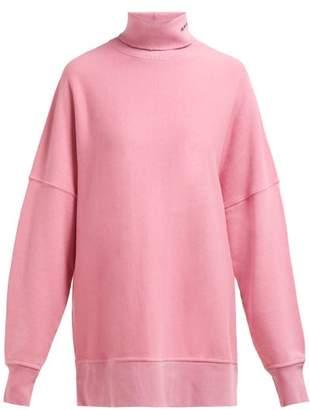 Calvin Klein Oversized Roll Neck Cotton Sweatshirt - Womens - Pink