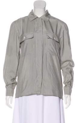 Halston Silk Long Sleeve Top
