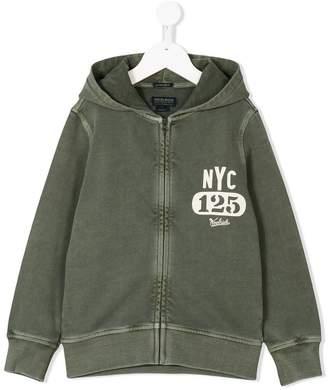 Woolrich Kids logo print zipped hoodie