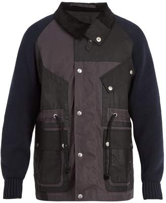Maison Margiela Contrast-sleeve waxed-cotton jacket