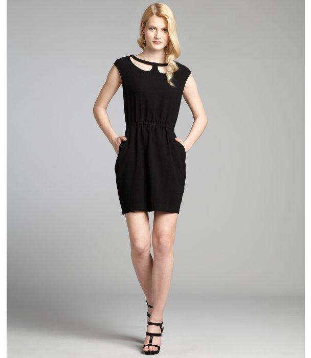 BCBGeneration black crepe cutout neck pocketed sleeveless dress