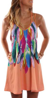 Zilcremo Women Plus Size Summer Casual Cami Floral Print Tunic Beach Dress 3XL