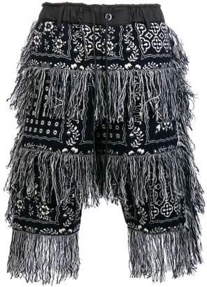 Sacai fringed bandana-print shorts