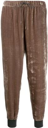 Fabiana Filippi high-shine velvet track pants