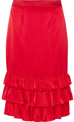 Maggie Marilyn - Billi Mac Ruffled Silk-satin Skirt - Red