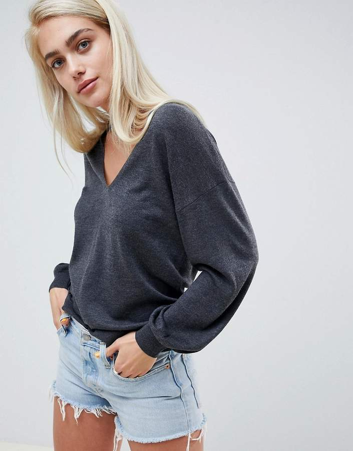 ASOS DESIGN eco v neck sweater with balloon sleeve