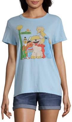 Mighty Fine Womens Crew Neck Short Sleeve Sesame Street Graphic T-Shirt-Juniors