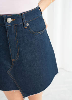 Asymmetric Raw Edge Denim Skirt