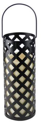 """Gerson 12"""" Black Metal Criss Cross Lantern with Bisque LED Lighted Flameless Indoor/Outdoor Pillar Candle"""