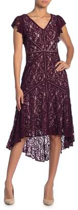 Taylor Flutter Sleeve Lace Dress